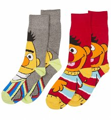 Men's 2 Pack Sesame Street Bert And Ernie Socks