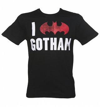 Men's Black I Love Gotham Batman T-Shirt