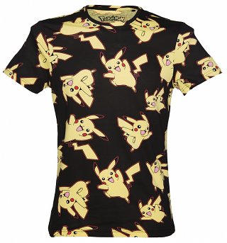 Men's Black Pikachu All Over Print Pokemon T-Shirt