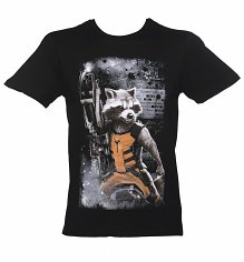 Men's Black Rocket Raccoon Guardians Of The Galaxy T-Shirt