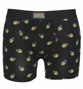 Men's Black Teenage Mutant Ninja Turtles Faces Boxer Shorts