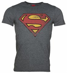 Men's Charcoal Distressed Superman Logo T-Shirt