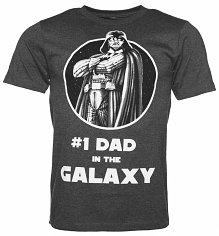 Men's Charcoal Star Wars Number 1 Dad In The Galaxy Darth Vader T-Shirt