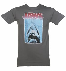 Men's Charcoal Vintage Distressed  Jaws T-Shirt
