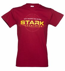 Men's Dark Red Iron Man Stark Industries Logo T-Shirt