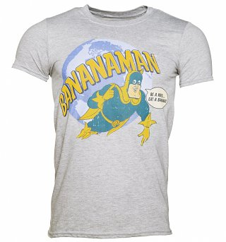 Men's Grey Marl Eat A Banana Bananaman T-Shirt