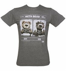 Men's Grey Marl Meth Bear T-Shirt from Chunk
