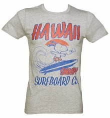 Men's Grey Marl Snoopy Surfboard T-Shirt