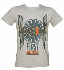 Men's Grey Marl Star Wars Episode VII The Force Awakens Distressed First Order Logo T-Shirt