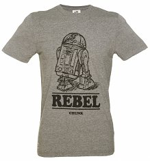 Men's Grey Marl Star Wars R2-D2 Rebel T-Shirt from Chunk