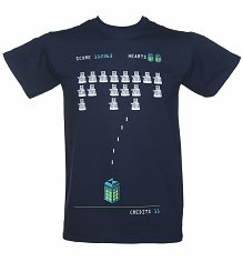 Men's Navy Doctor Who TARDIS And Dalek Invaders T-Shirt