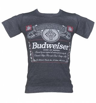 Men's Navy Marl Budweiser Label T-Shirt