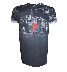 Men's PlayStation Logo Cityscape Sublimation T-Shirt