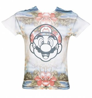 Men's Super Mario Brothers Tropical Sublimation Print T-Shirt