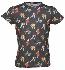 Men's Washed Black Street Fighter Characters T-Shirt