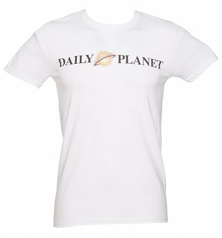 Men's White Daily Planet Superman T-Shirt