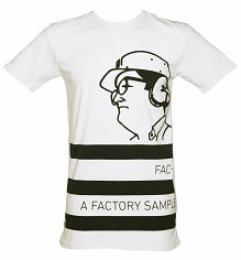 Men's White Factory Records Long Line T-Shirt from Worn By