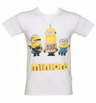 Men's White I'm With Stupid Minions T-Shirt