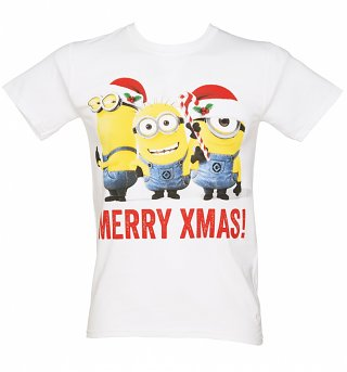 Men's White Merry Xmas Minions T-Shirt