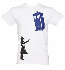 Men's White Stencil Doctor Who TARDIS T-Shirt