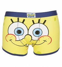 Men's Yellow SpongeBob Squarepants Face Boxer Shorts
