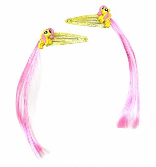 My Little Pony Friendship Is Magic Fluttershy Hair Clips With Faux Pink Hair