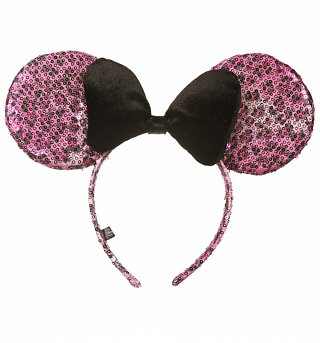 Pink Leopard Print Sequin And Black Velvet Bow Disney Minnie Mouse Ears Headband