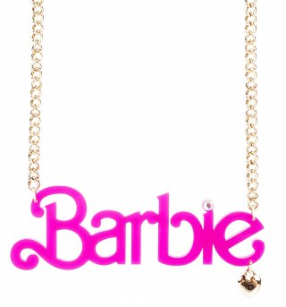 Pink Neon Perspex Barbie Logo Necklace