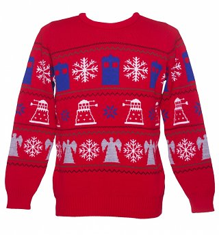 Red Doctor Who Knitted Christmas Jumper