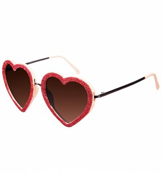Pink Glitter Heart Sunglasses from Jeepers Peepers