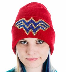 Red Knitted DC Comics Sequin Wonder Woman Logo Beanie Hat
