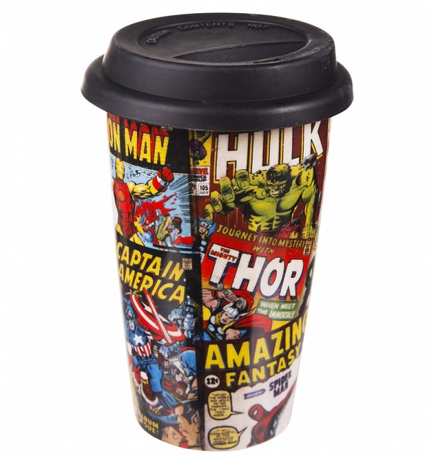 An image of Retro Marvel Comics Travel Mug