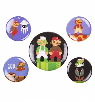 Retro Super Mario Brothers Badge Pack