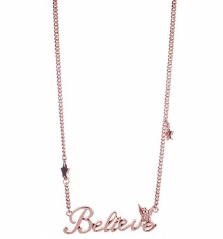 Rose Gold Plated Believe Tinker Bell Necklace from Disney Couture