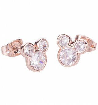 Rose Gold Plated Mickey Mouse Pave Stud Earrings from Disney Couture