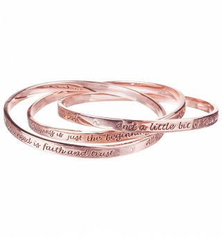 Rose Gold Plated Three Piece Tinker Bell Interlocking Bangles from Disney Couture
