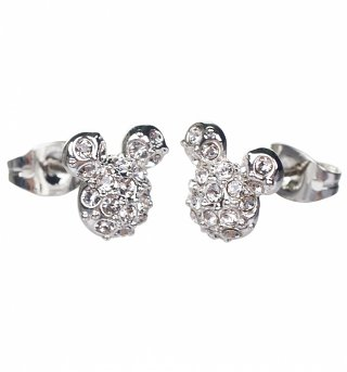 Silver Plated Mickey Mouse Pave Stud Earrings from Disney Couture
