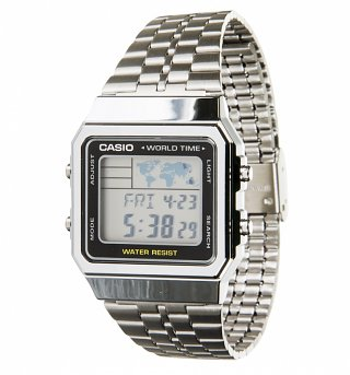 Silver World Time Digital Watch A500WEA-1EF from Casio