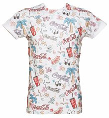 White Coca-Cola Retro 90's All Over Sublimation Print T-Shirt from Retro Fred's
