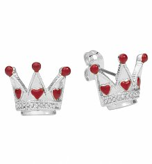 White Gold Plated Alice In Wonderland Crown Stud Earrings from Disney Couture