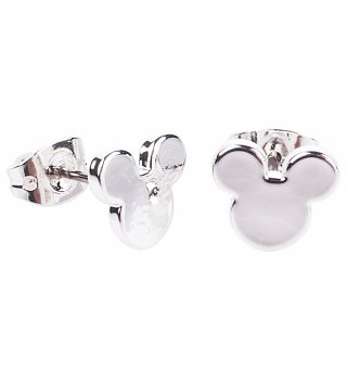 White Gold Plated Small Mickey Mouse Silhouette Stud Earrings from Disney Couture