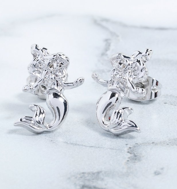 An image of White Gold Plated The Little Mermaid Ariel Stud Earrings
