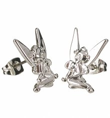 White Gold Plated Tinker Bell Stud Earrings from Disney Couture