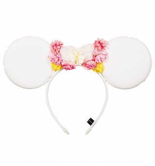 White PU and Floral Bow Disney Minnie Ears Headband