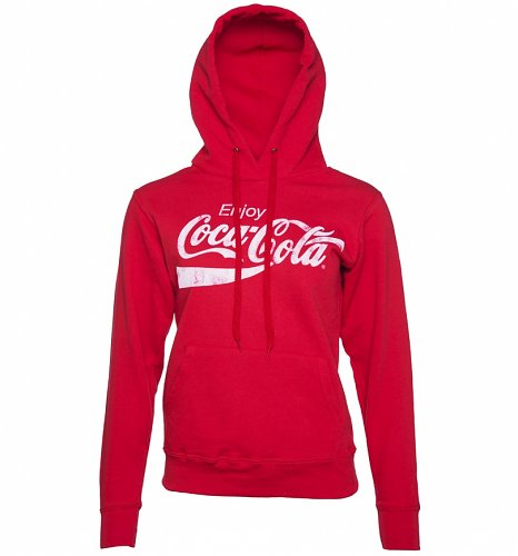 An image of Womens Red Enjoy Coca-Cola Hoodie