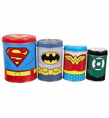 Boxed DC Comics Justice League Set Of 4 Tin Canisters