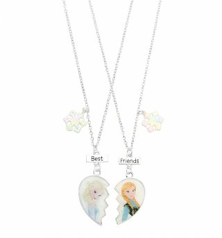 Kids Disney Frozen Elsa And Anna Best Friends Set Of Two Necklaces