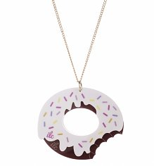 Frosted Chocolate Sprinkles Doughnut Bite Necklace from I Love Crafty