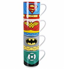 Justice League Of America Characters Stacking Mugs