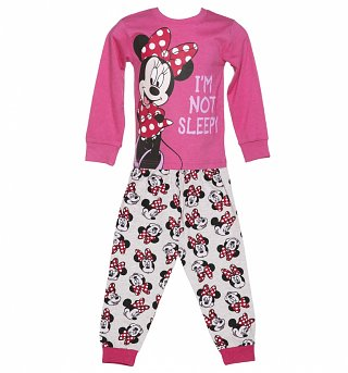 Kids Disney Minnie Mouse Not Going To Bed PJ Set from Fabric Flavours